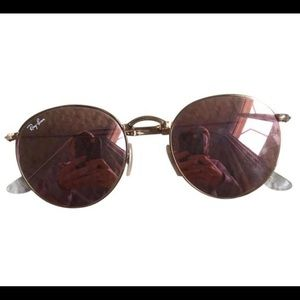 Ray Ban Pink Rounded Glasses